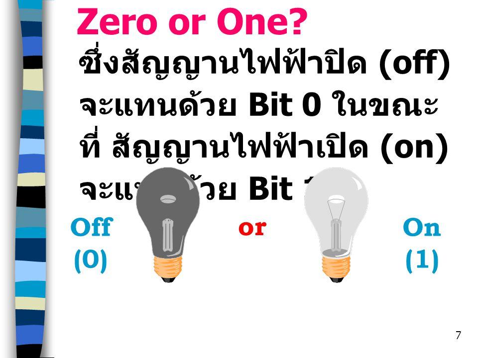 Zero or One ซึ่งสัญญานไฟฟ้าปิด (off) จะแทนด้วย Bit 0 ในขณะที่ สัญญานไฟฟ้าเปิด (on) จะแทนด้วย Bit 1.