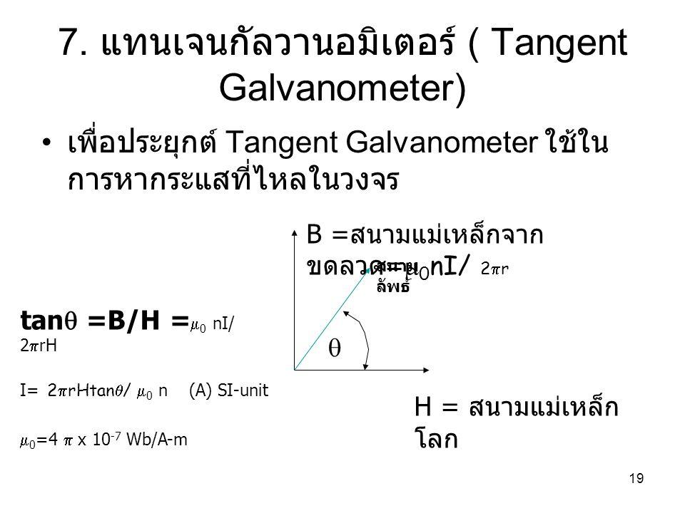 7. แทนเจนกัลวานอมิเตอร์ ( Tangent Galvanometer)