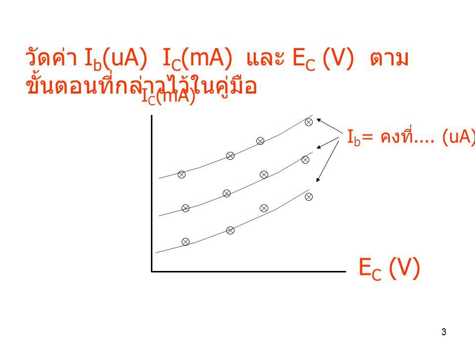 วัดค่า Ib(uA) IC(mA) และ EC (V) ตามขั้นตอนที่กล่าวไว้ในคู่มือ