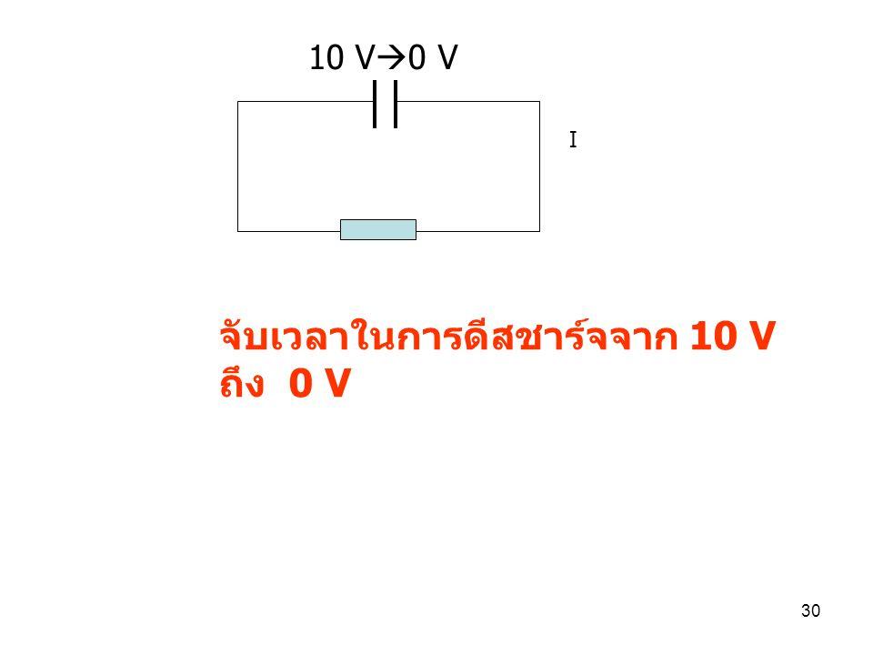 จับเวลาในการดีสชาร์จจาก 10 V ถึง 0 V