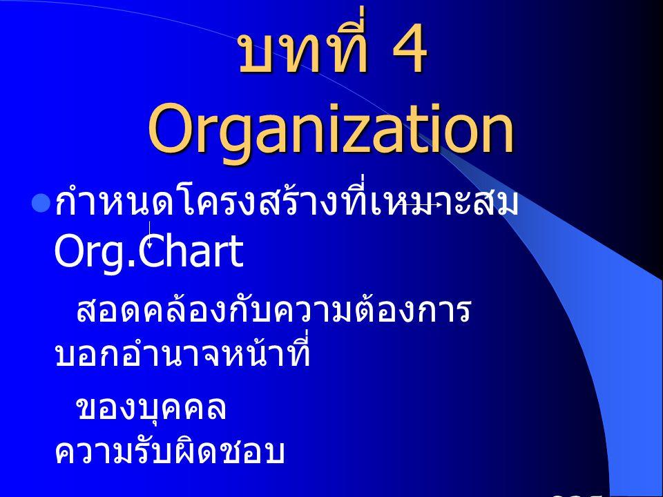 บทที่ 4 Organization กำหนดโครงสร้างที่เหมาะสม Org.Chart