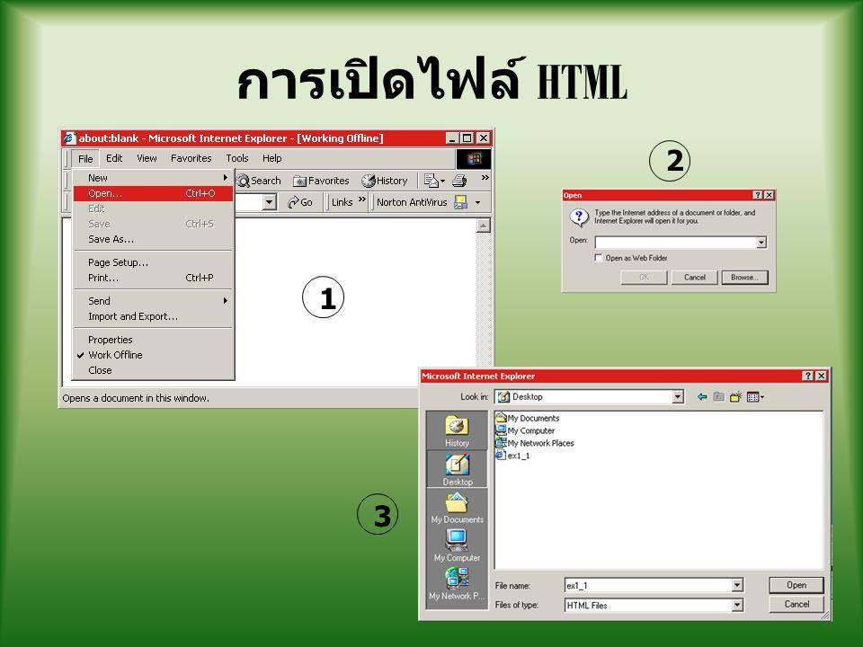 การเปิดไฟล์ HTML 2 1 3
