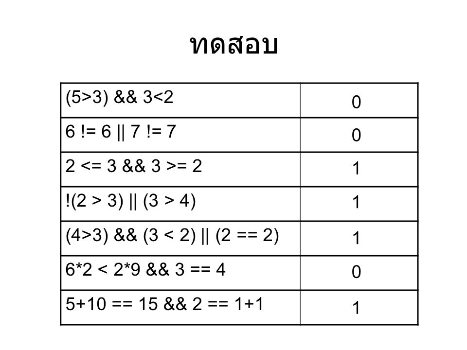 ทดสอบ (5>3) && 3<2 6 != 6 || 7 != 7 2 <= 3 && 3 >= 2