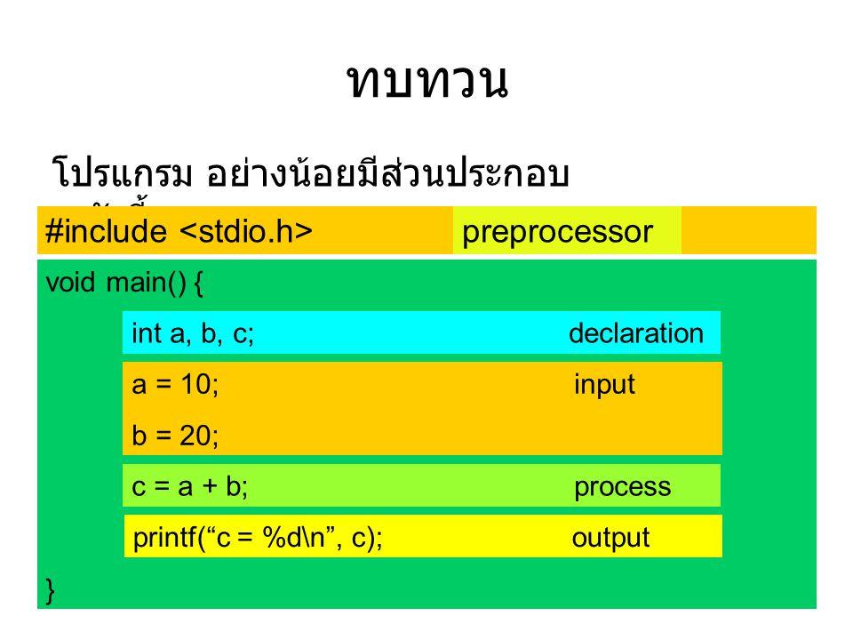 ทบทวน โปรแกรม อย่างน้อยมีส่วนประกอบดังนี้ #include <stdio.h>