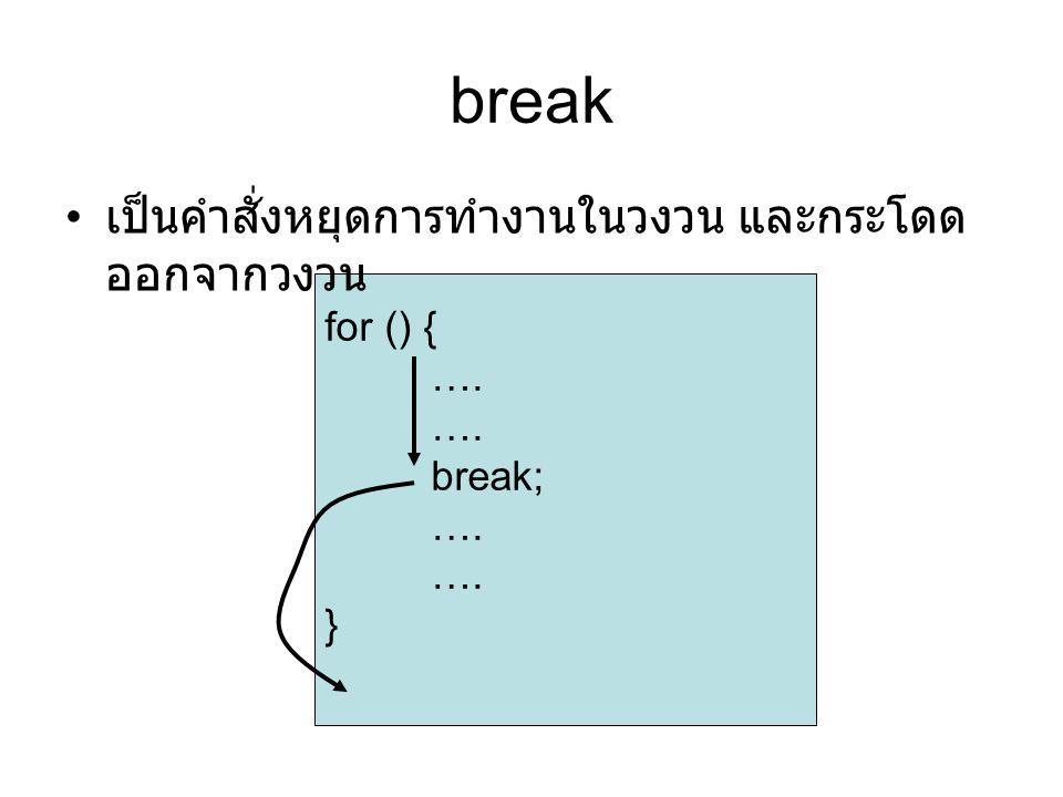 break เป็นคำสั่งหยุดการทำงานในวงวน และกระโดดออกจากวงวน for () { ….
