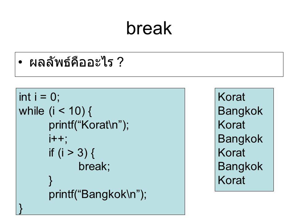 break ผลลัพธ์คืออะไร int i = 0; while (i < 10) {