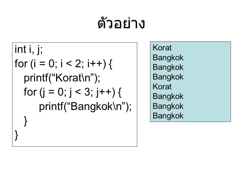 ตัวอย่าง int i, j; for (i = 0; i < 2; i++) { printf( Korat\n );