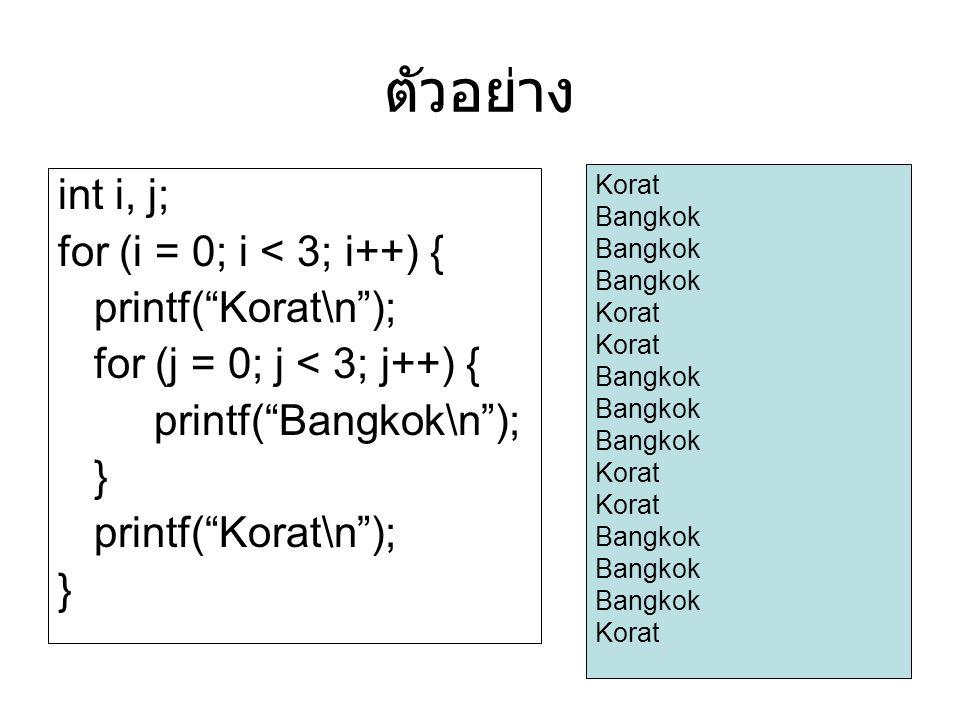 ตัวอย่าง int i, j; for (i = 0; i < 3; i++) { printf( Korat\n );