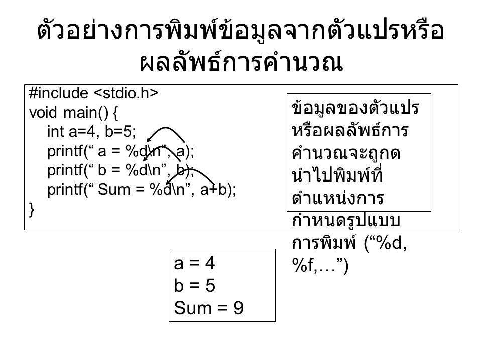 ตัวอย่างการพิมพ์ข้อมูลจากตัวแปรหรือผลลัพธ์การคำนวณ