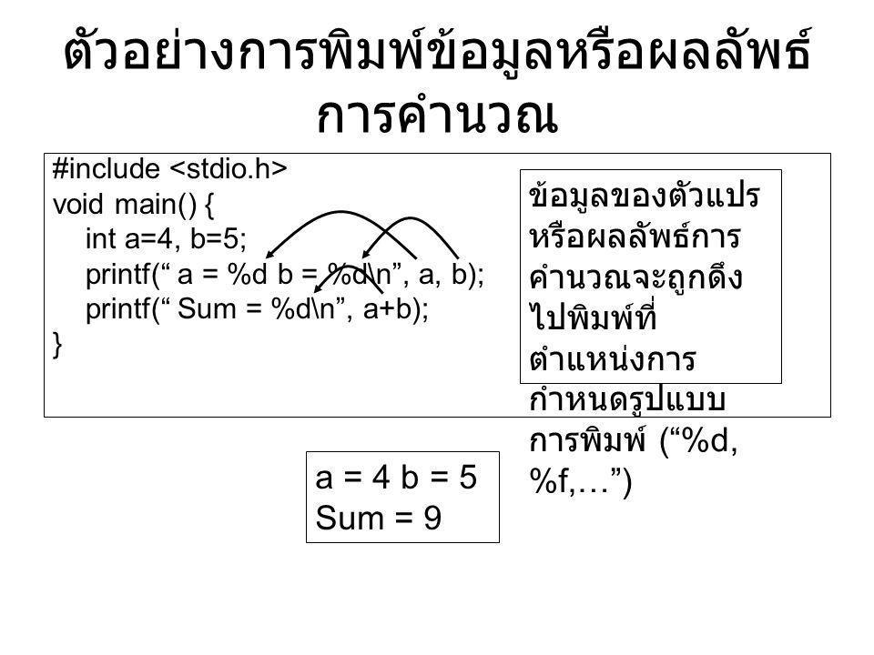 ตัวอย่างการพิมพ์ข้อมูลหรือผลลัพธ์การคำนวณ