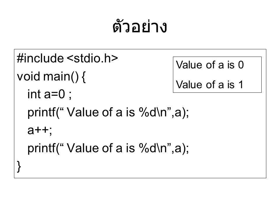 ตัวอย่าง #include <stdio.h> void main() { int a=0 ;