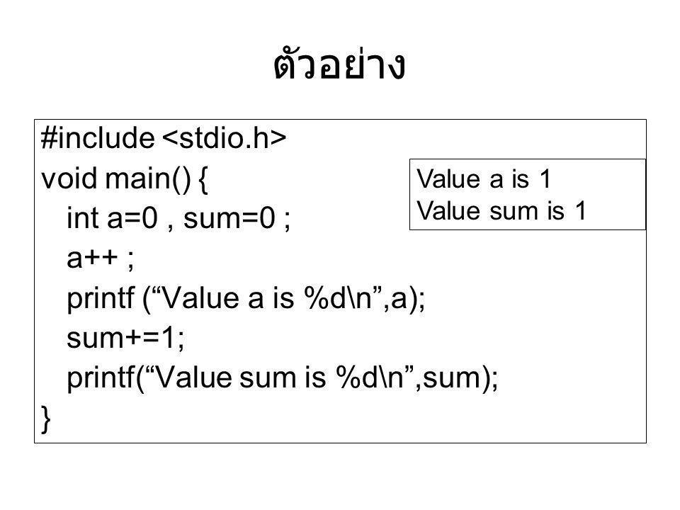 ตัวอย่าง #include <stdio.h> void main() { int a=0 , sum=0 ;