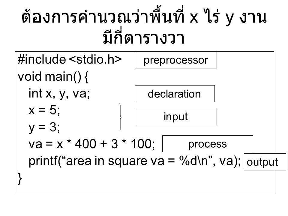 ต้องการคำนวณว่าพื้นที่ x ไร่ y งาน มีกี่ตารางวา
