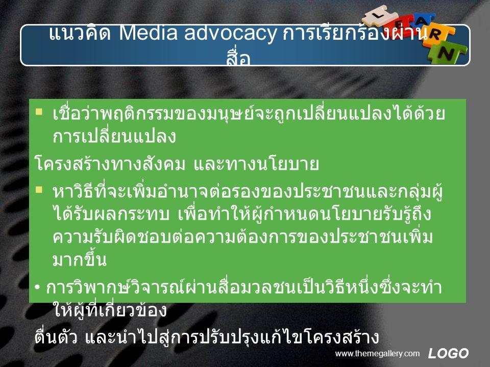 แนวคิด Media advocacy การเรียกร้องผ่านสื่อ