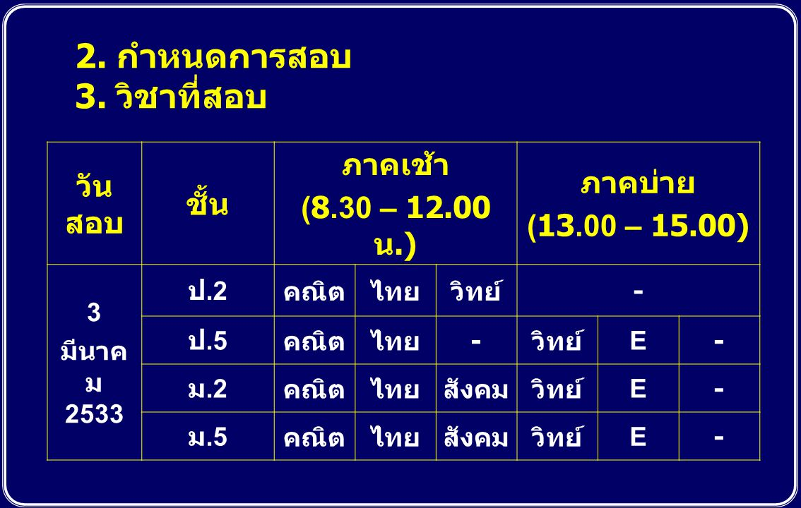 2. กำหนดการสอบ 3. วิชาที่สอบ วันสอบ ชั้น ภาคเช้า (8.30 – 12.00 น.)