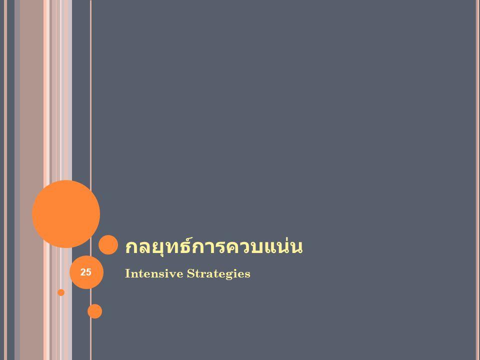 กลยุทธ์การควบแน่น Intensive Strategies