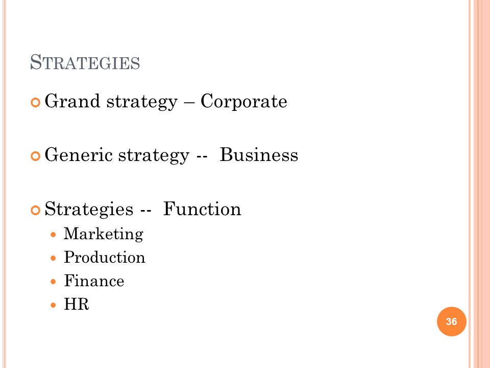 Strategies Grand strategy – Corporate Generic strategy -- Business