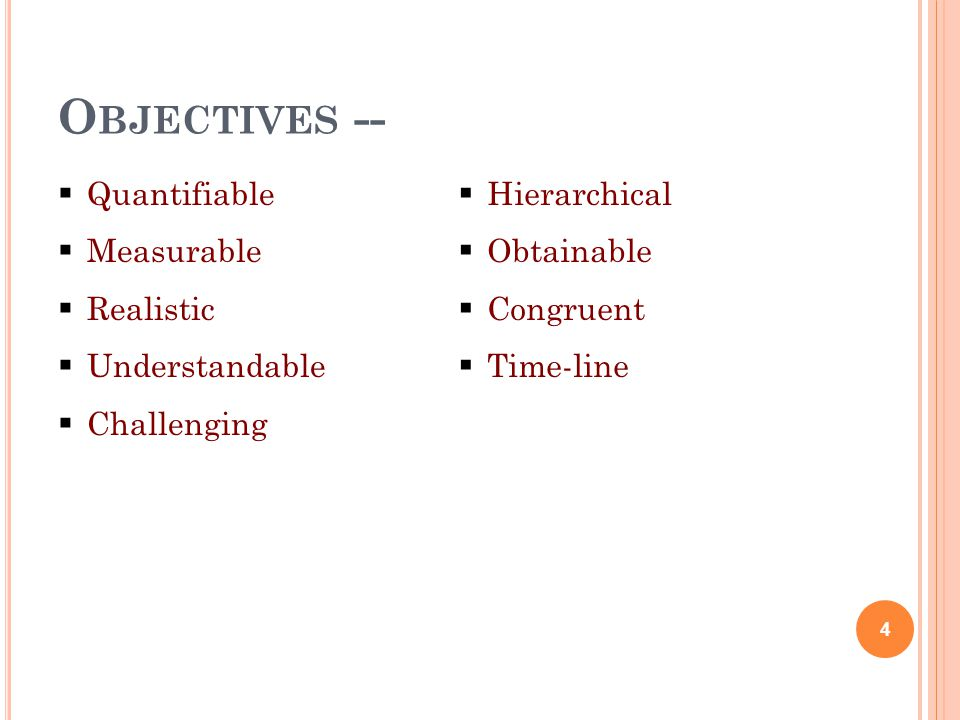 Objectives -- Quantifiable Measurable Realistic Understandable