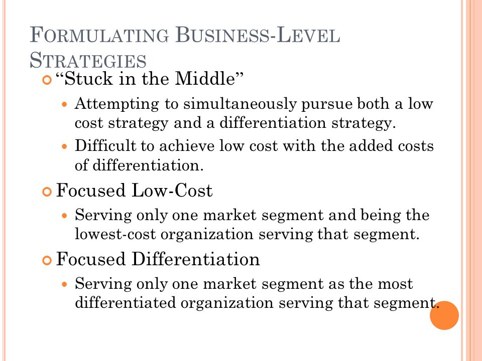 Formulating Business-Level Strategies