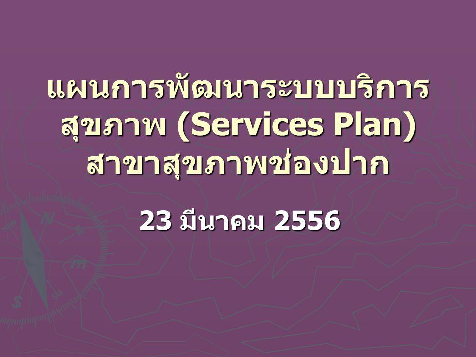 แผนการพัฒนาระบบบริการสุขภาพ (Services Plan) สาขาสุขภาพช่องปาก