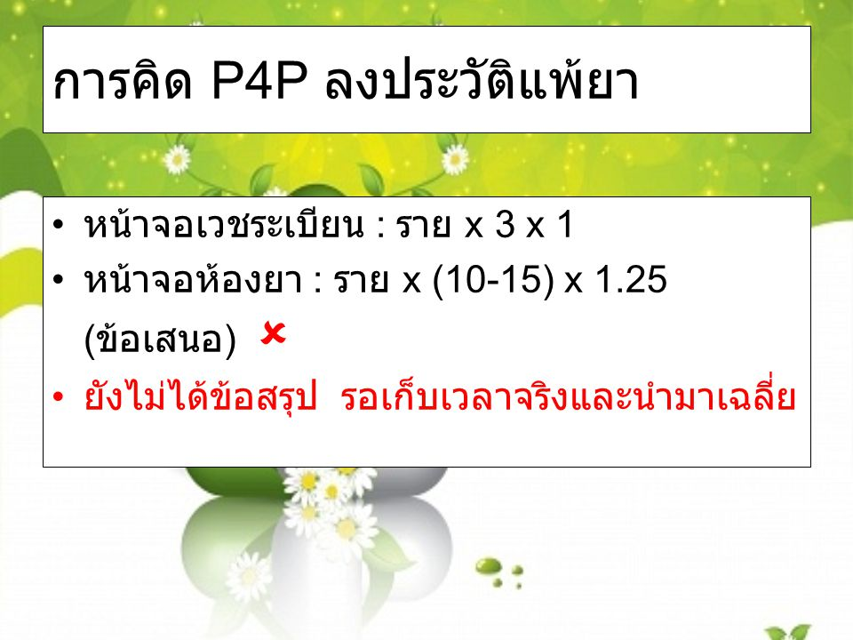 การคิด P4P ลงประวัติแพ้ยา