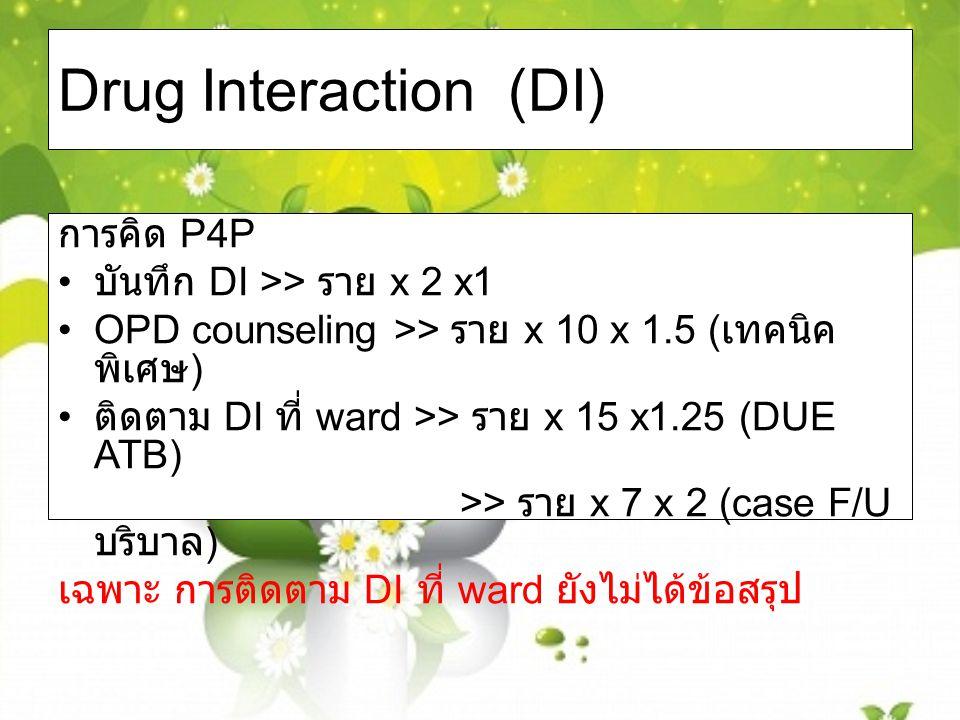 Drug Interaction (DI) การคิด P4P บันทึก DI >> ราย x 2 x1