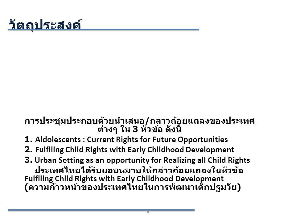 วัตถุประสงค์ การประชุมประกอบด้วยนำเสนอ/กล่าวถ้อยแถลงของประเทศต่างๆ ใน 3 หัวข้อ ดังนี้ 1. Aldolescents : Current Rights for Future Opportunities.