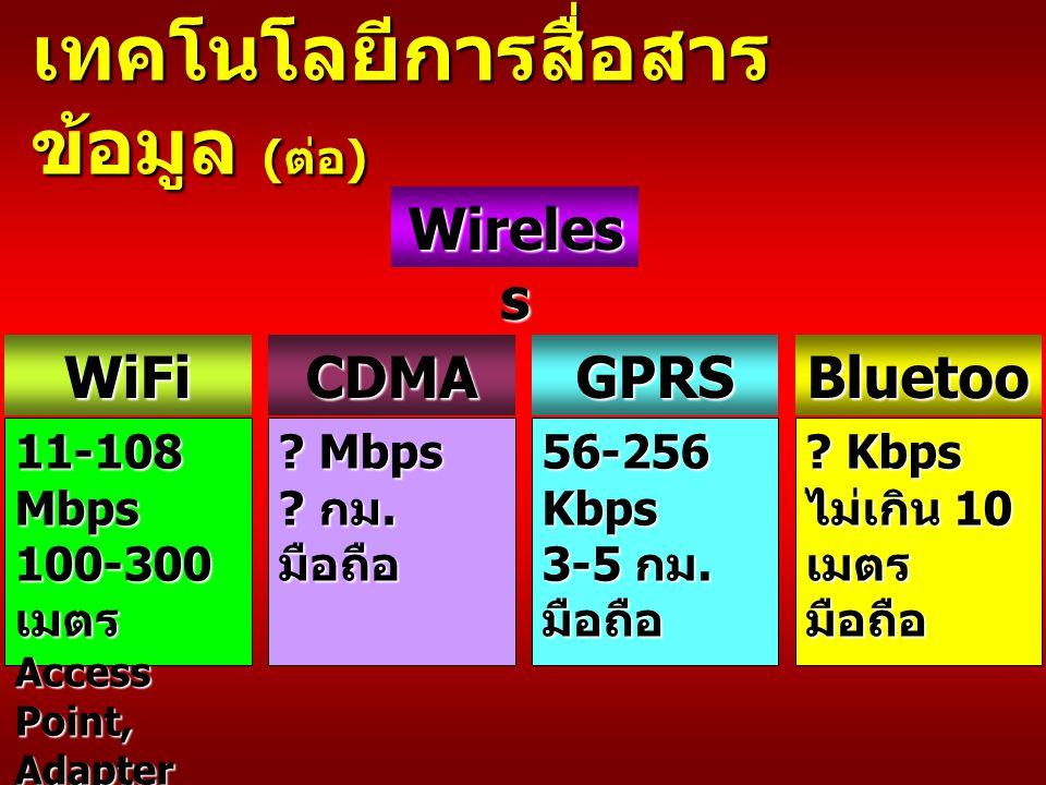 เทคโนโลยีการสื่อสารข้อมูล (ต่อ)