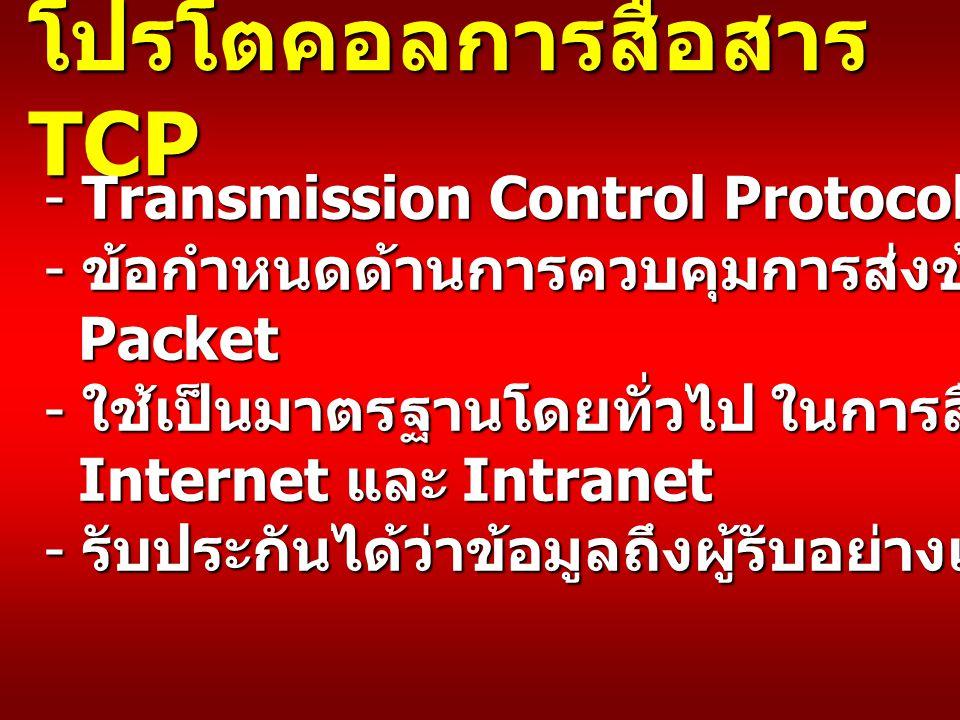 โปรโตคอลการสื่อสาร TCP