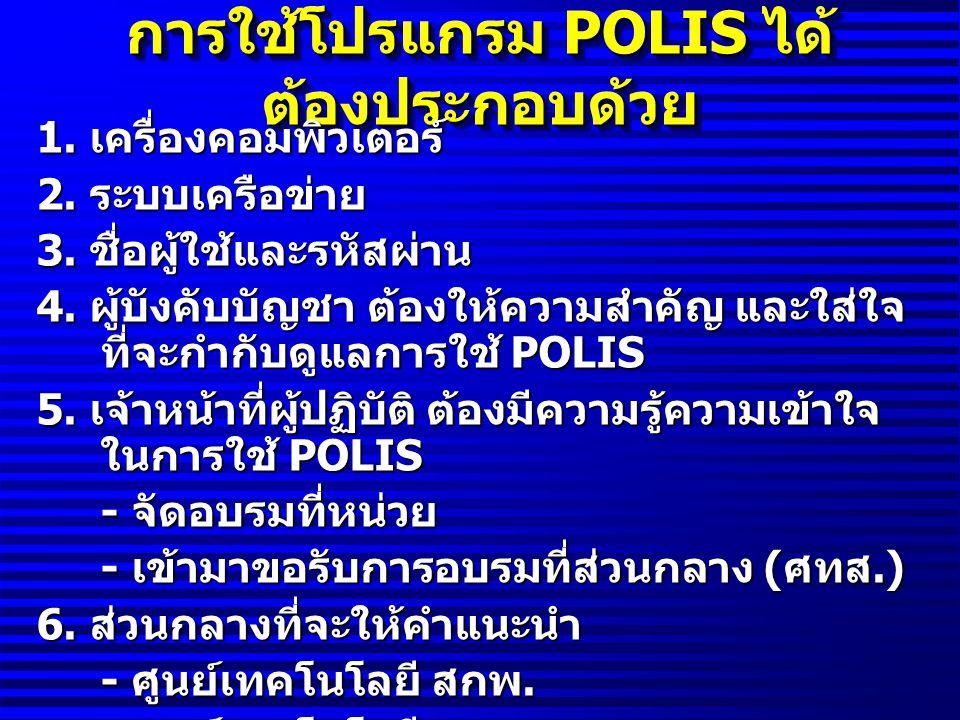 การใช้โปรแกรม POLIS ได้ต้องประกอบด้วย