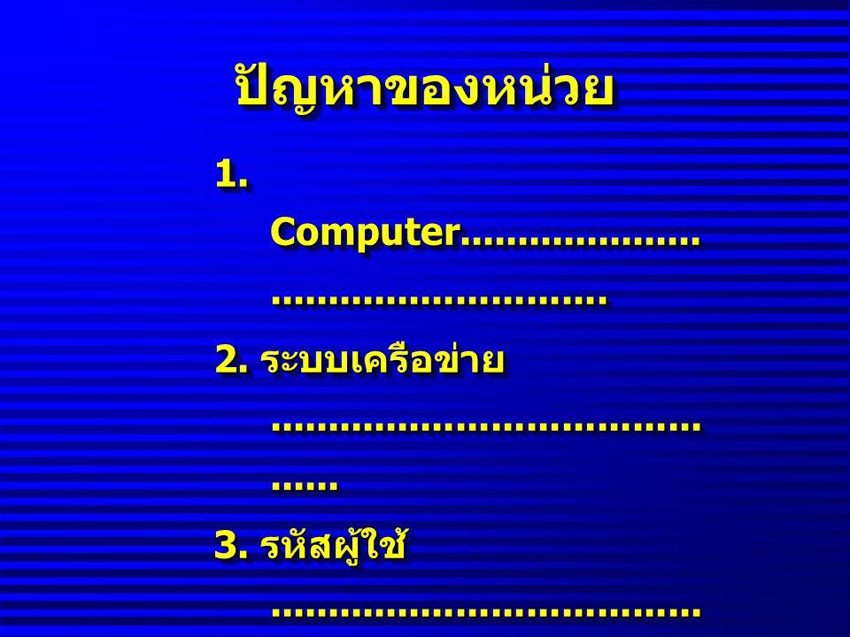 ปัญหาของหน่วย 1. Computer.................................................. 2. ระบบเครือข่าย...........................................