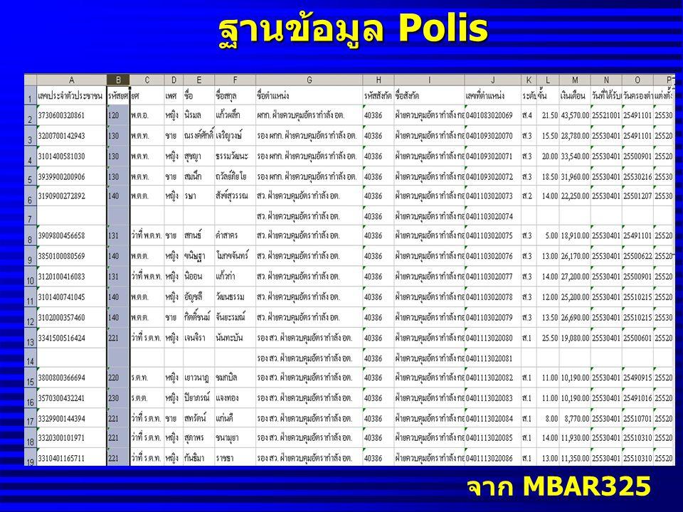 ฐานข้อมูล Polis จาก MBAR325