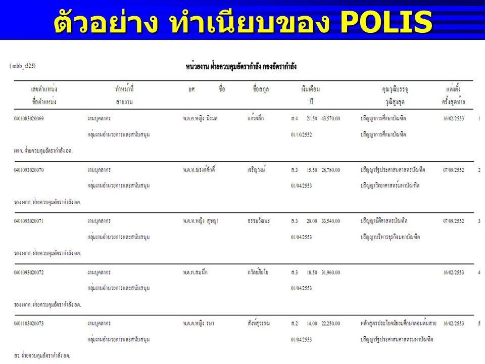 ตัวอย่าง ทำเนียบของ POLIS