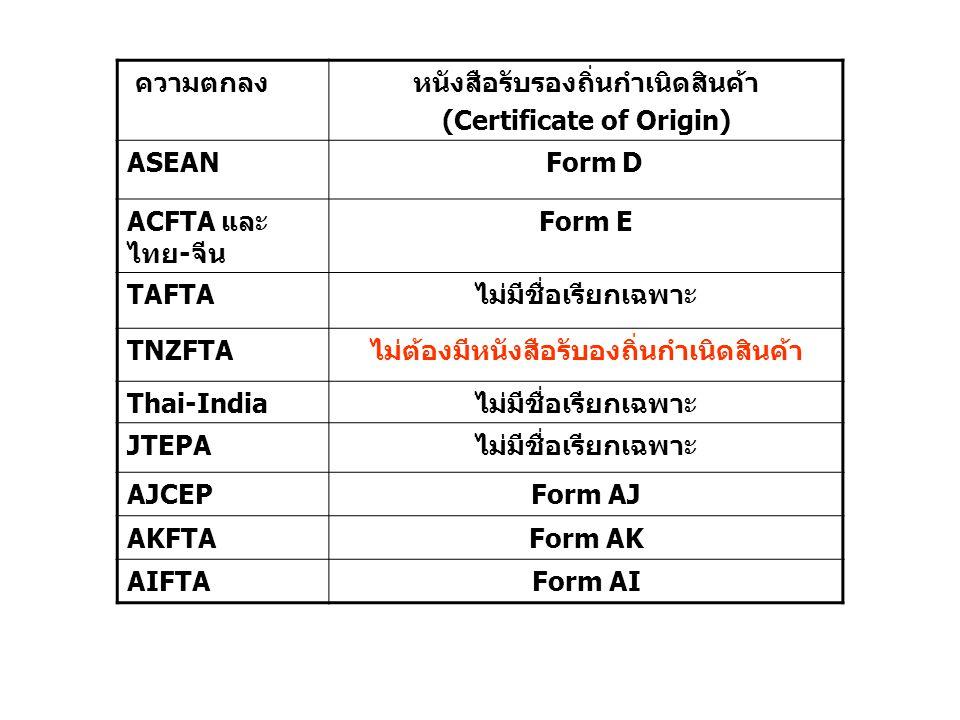 หนังสือรับรองถิ่นกำเนิดสินค้า (Certificate of Origin) ASEAN Form D