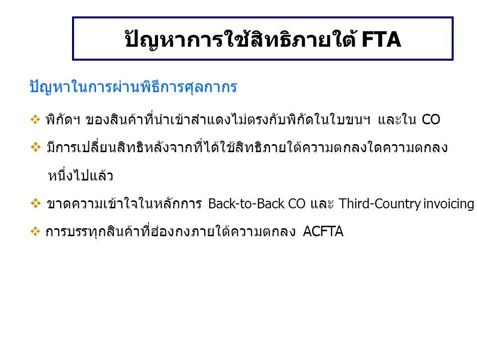 ปัญหาการใช้สิทธิภายใต้ FTA