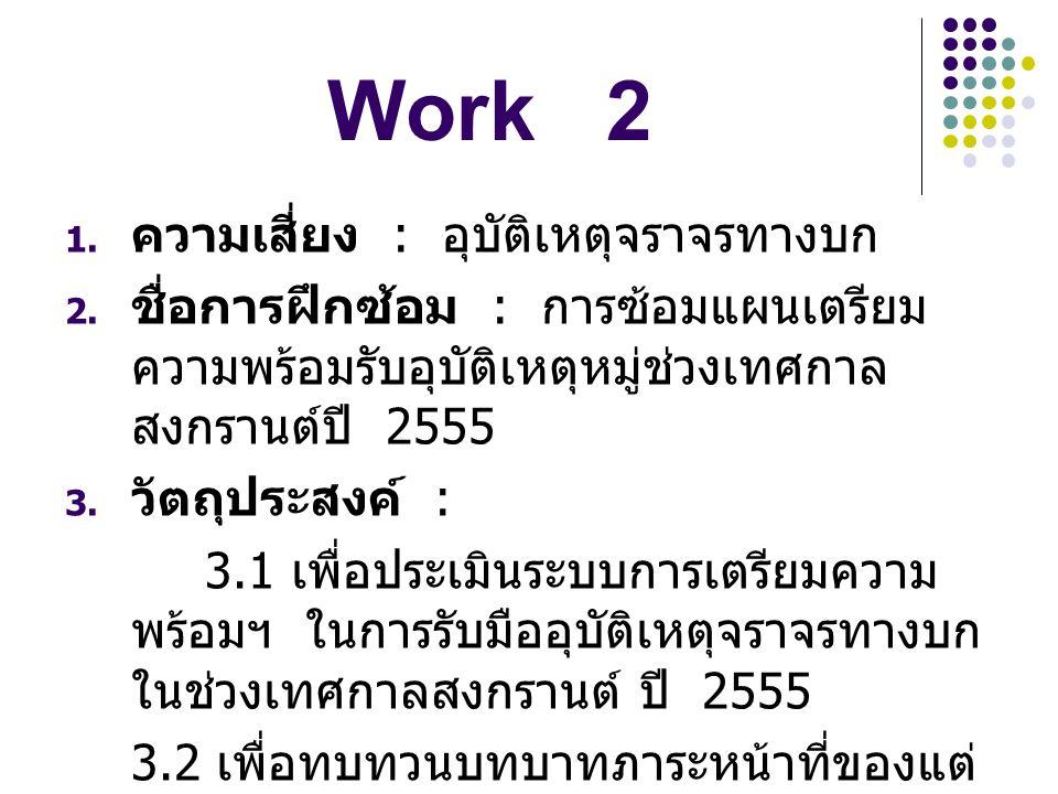 Work 2 ความเสี่ยง : อุบัติเหตุจราจรทางบก