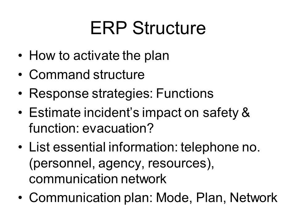 ERP Structure How to activate the plan Command structure