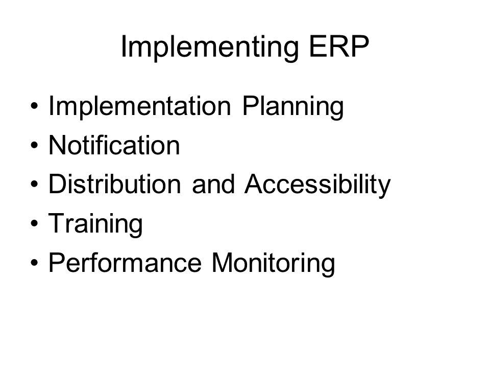 Implementing ERP Implementation Planning Notification
