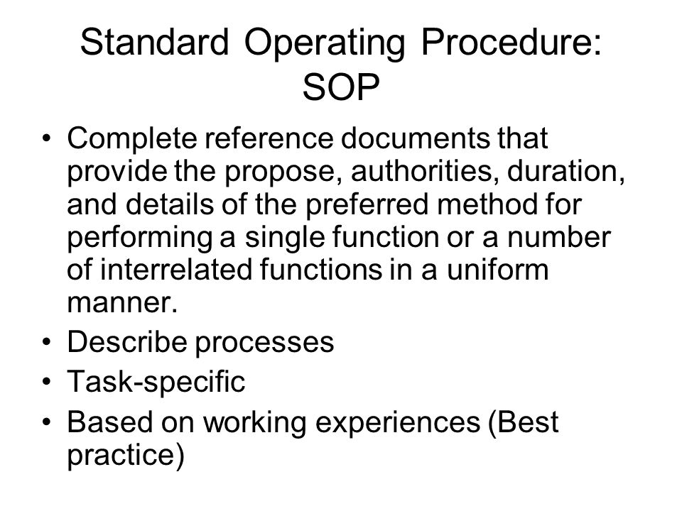 Standard Operating Procedure: SOP