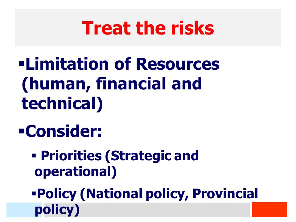 Treat the risks Limitation of Resources (human, financial and technical) Consider: Priorities (Strategic and operational)