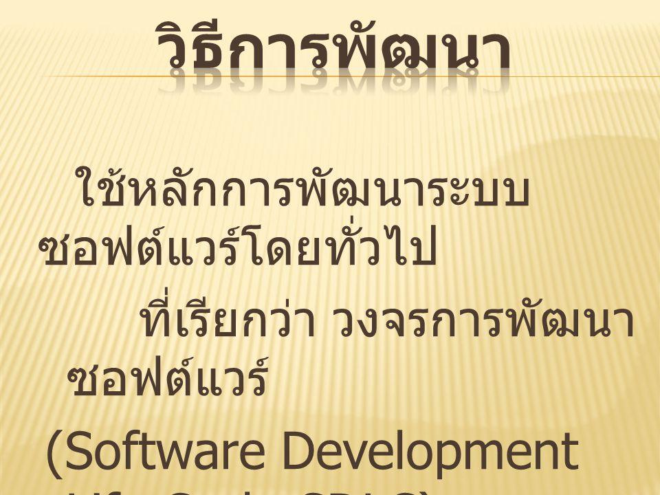 วิธีการพัฒนา (Software Development Life Cycle-SDLC)