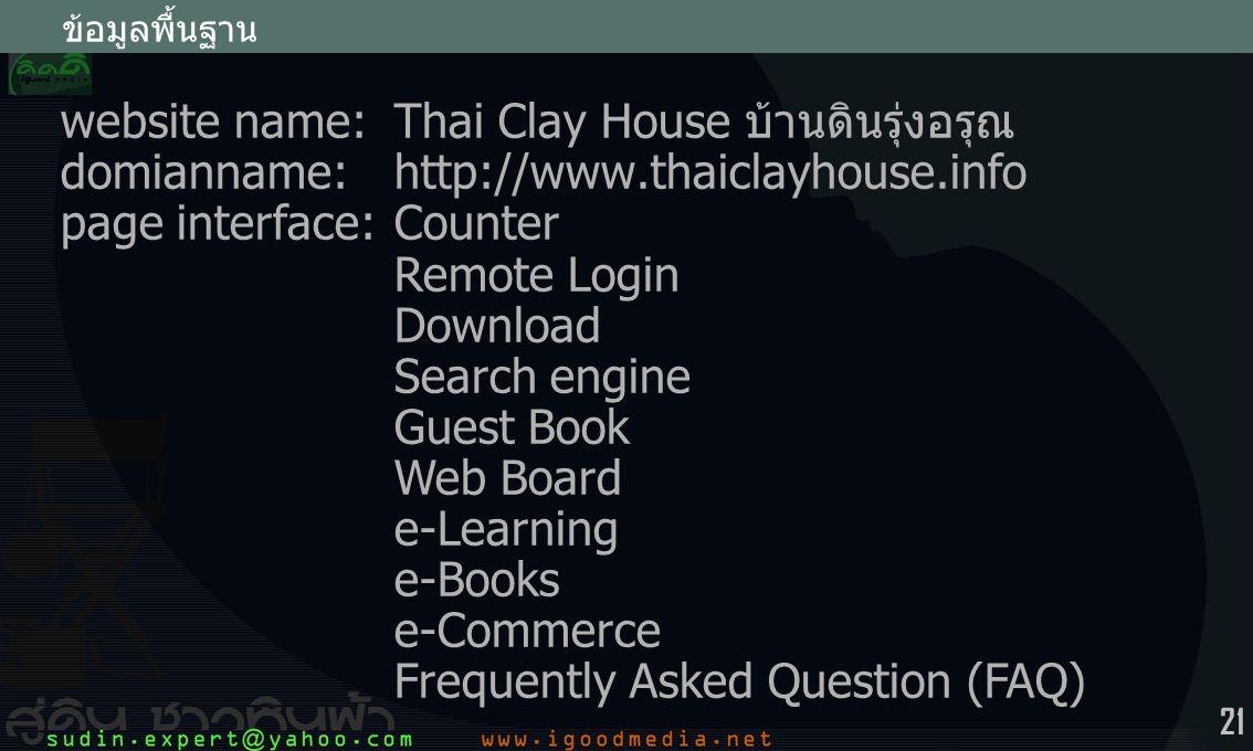 website name: Thai Clay House บ้านดินรุ่งอรุณ