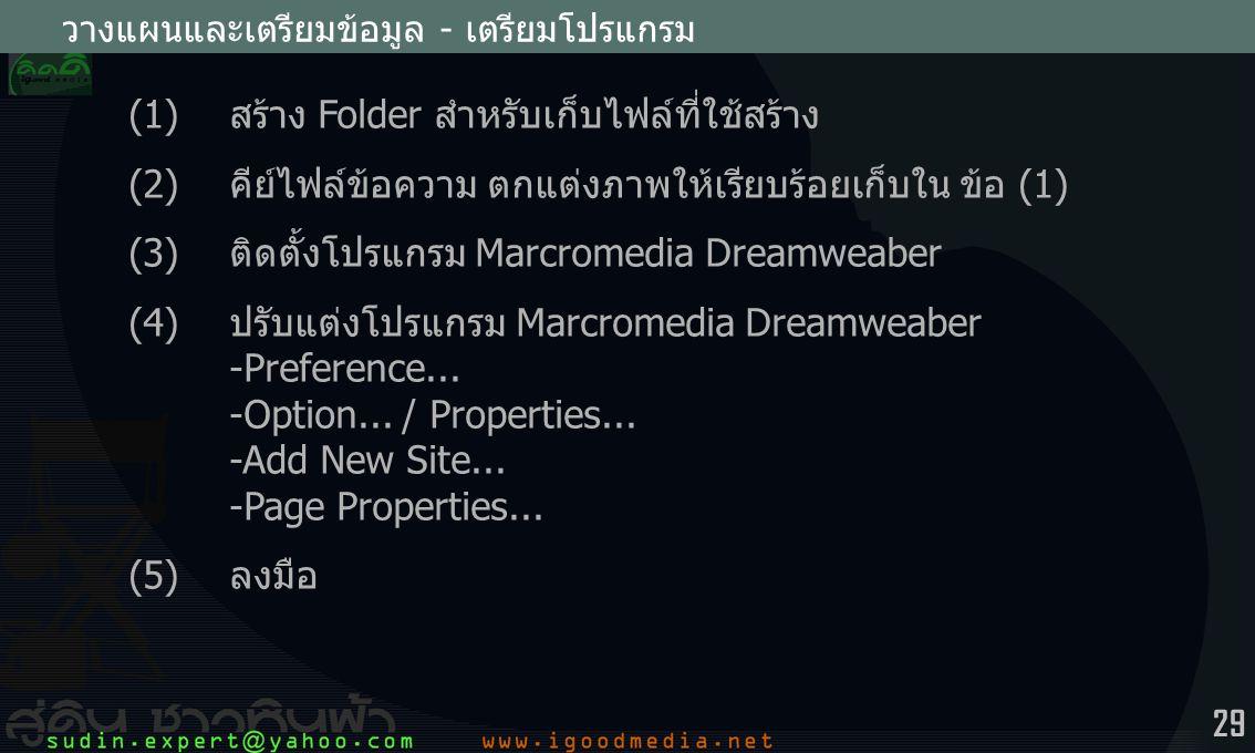 (1) สร้าง Folder สำหรับเก็บไฟล์ที่ใช้สร้าง