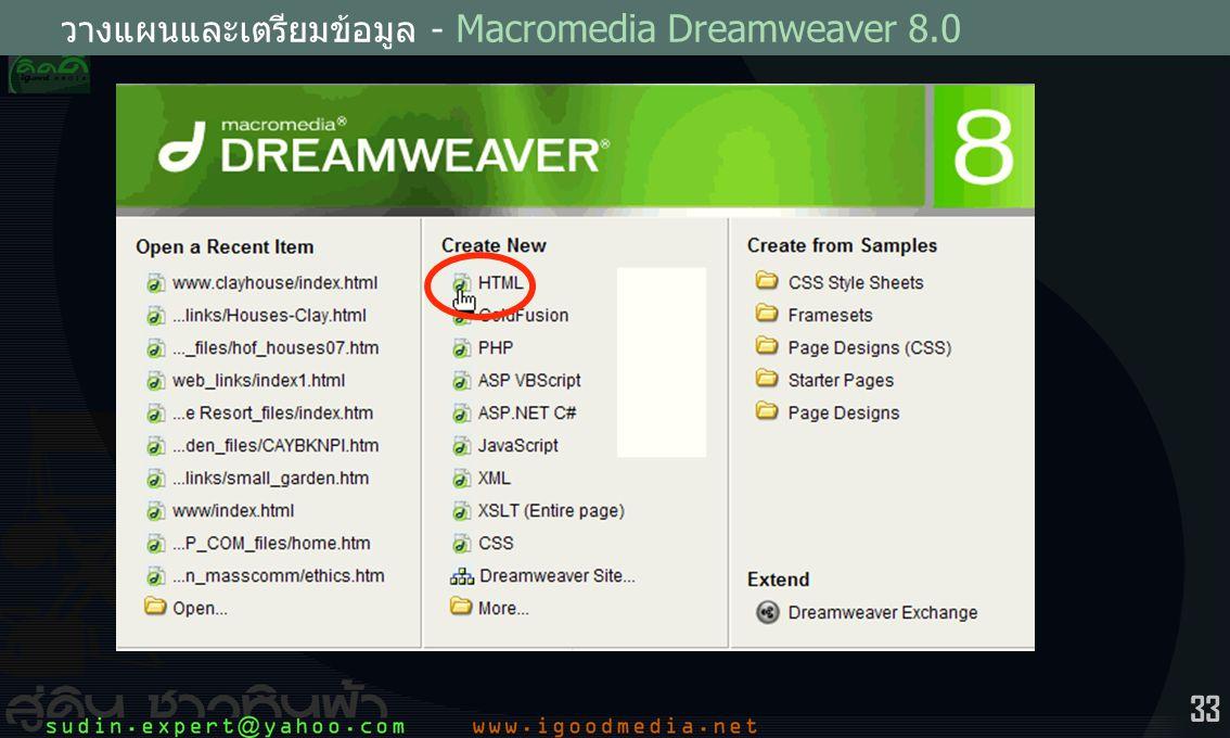 วางแผนและเตรียมข้อมูล - Macromedia Dreamweaver 8.0