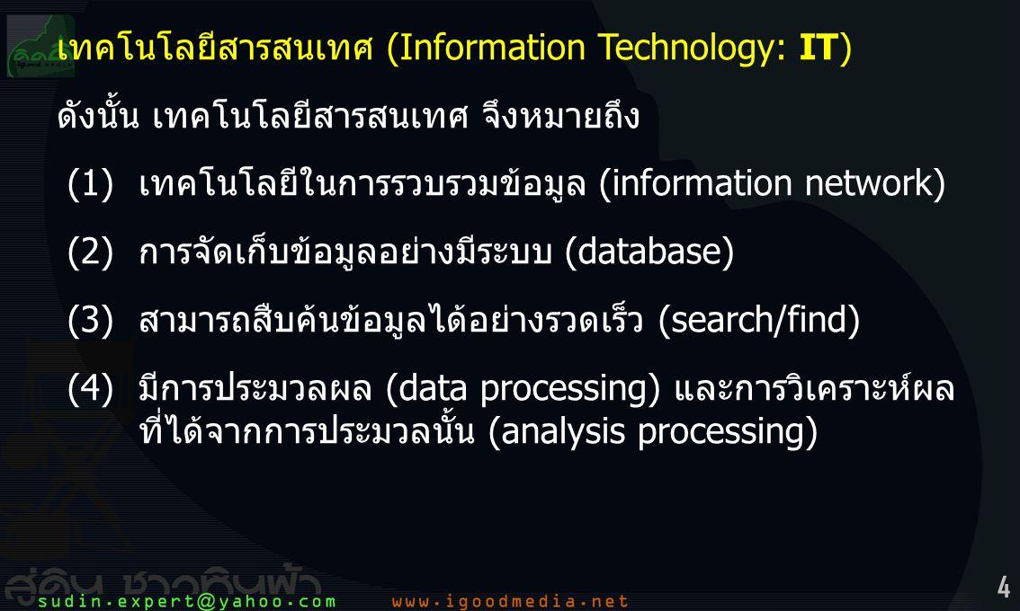 เทคโนโลยีสารสนเทศ (Information Technology: IT)