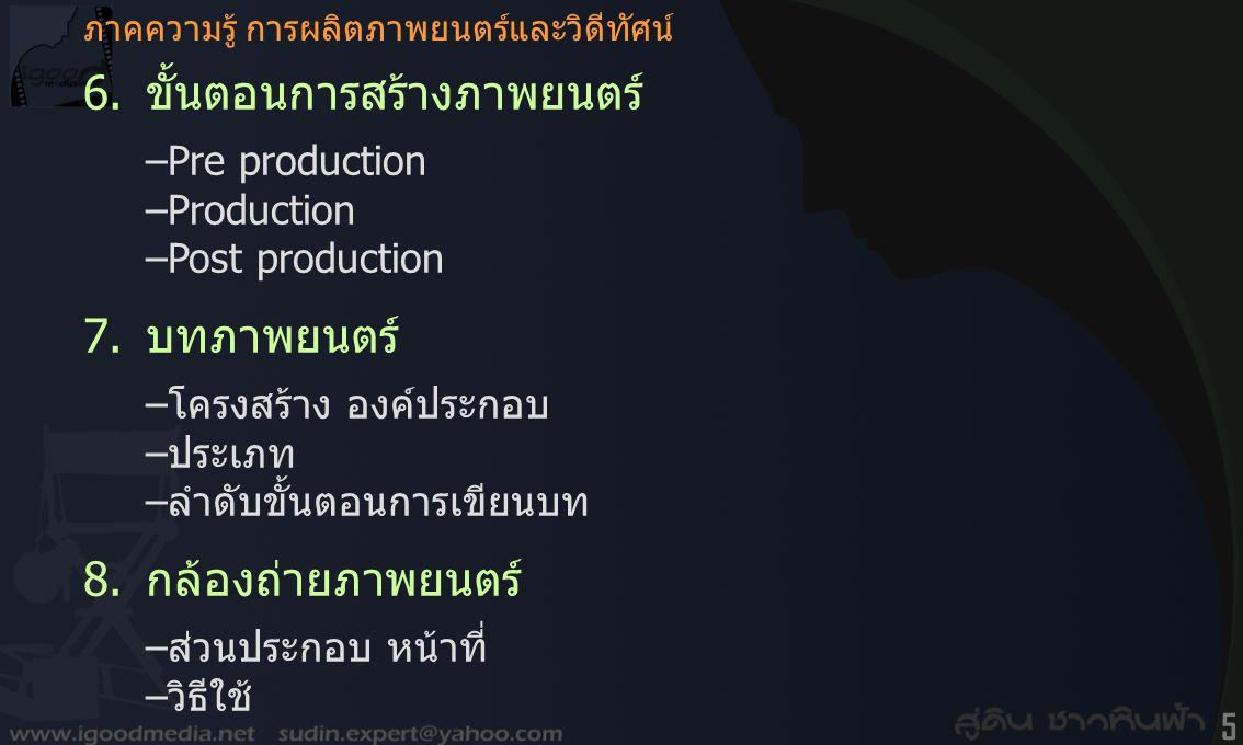 6. ขั้นตอนการสร้างภาพยนตร์