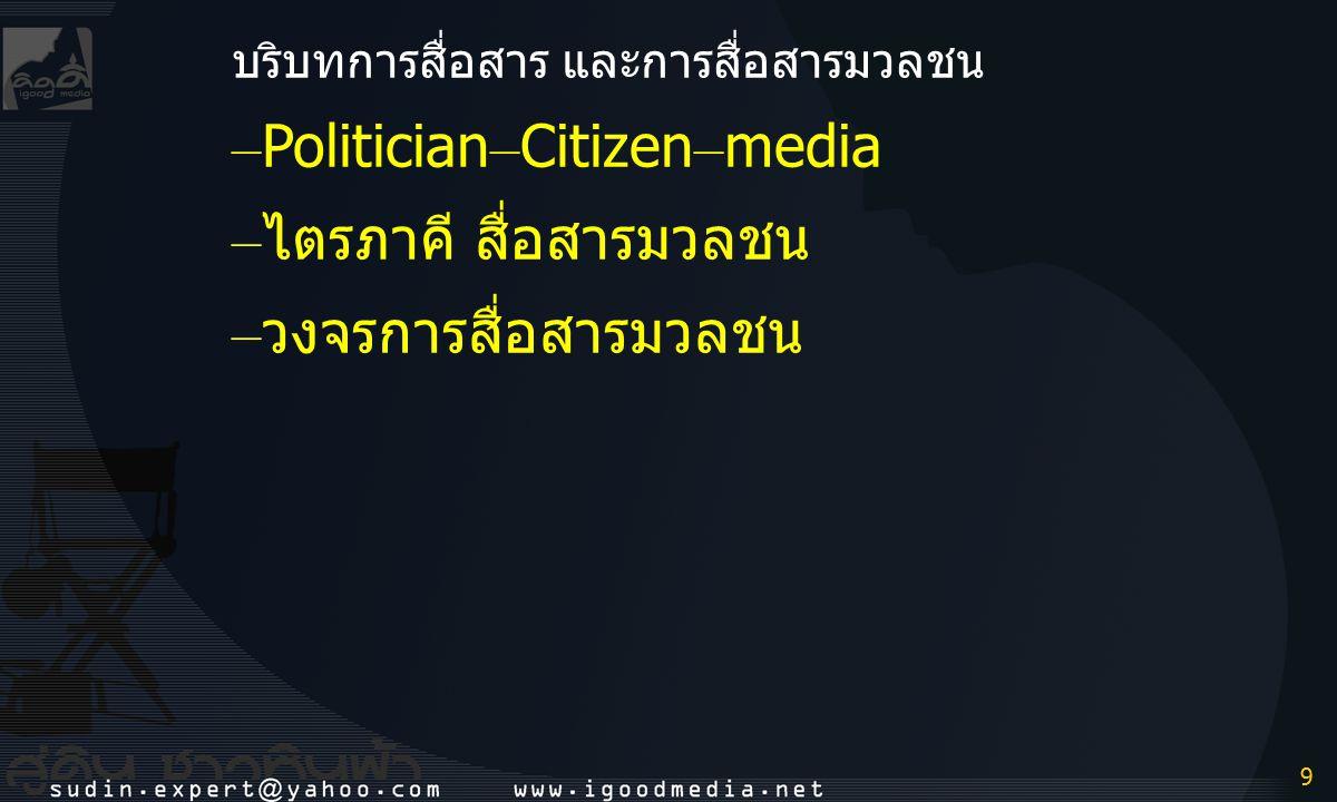 –Politician–Citizen–media –ไตรภาคี สื่อสารมวลชน –วงจรการสื่อสารมวลชน