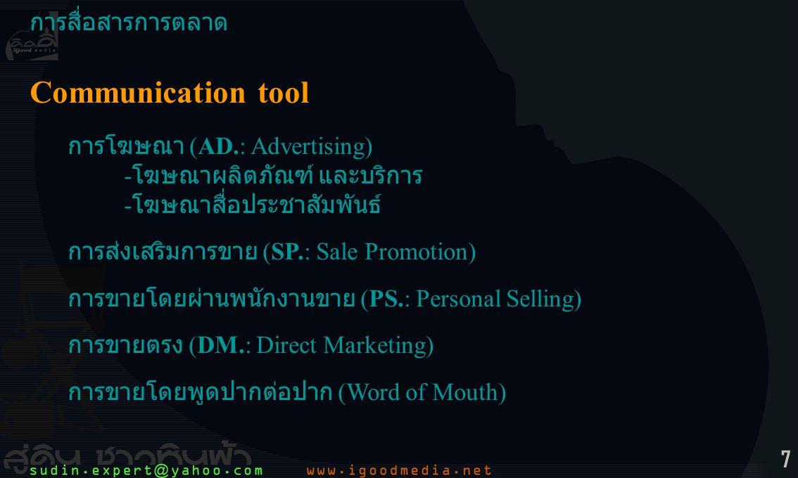 Communication tool การสื่อสารการตลาด