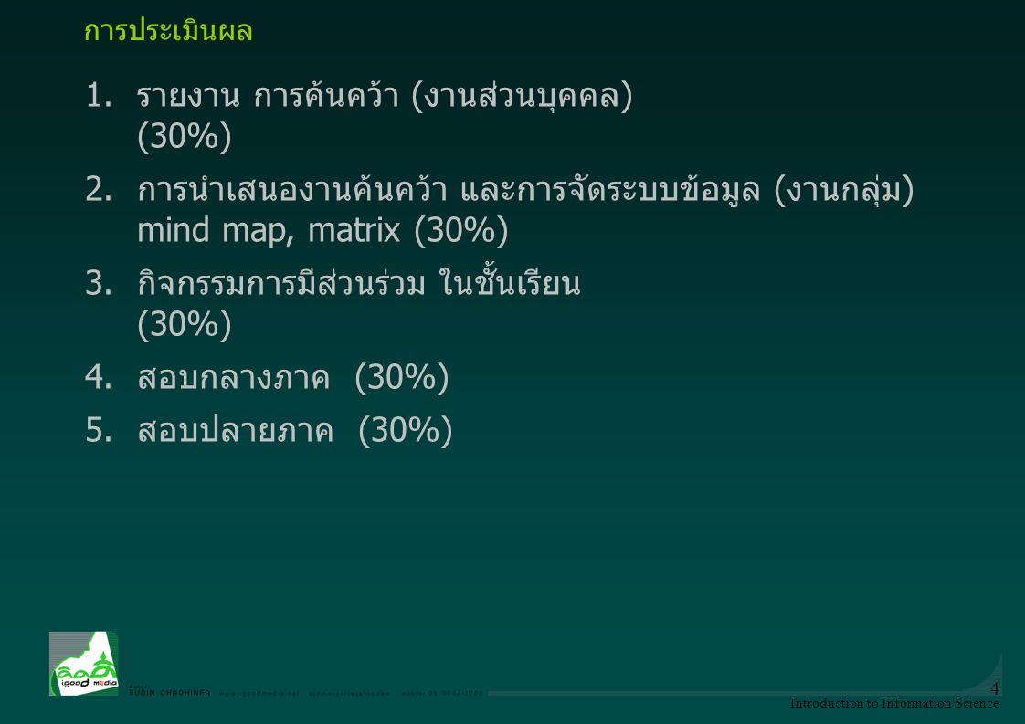 1. รายงาน การค้นคว้า (งานส่วนบุคคล) (30%)