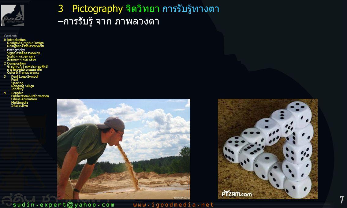 3 Pictography จิตวิทยา การรับรู้ทางตา –การรับรู้ จาก ภาพลวงตา